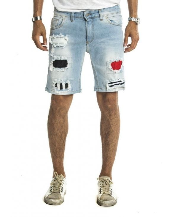 ALVIN STRIPPED SHORTS IN LIGHT BLUE