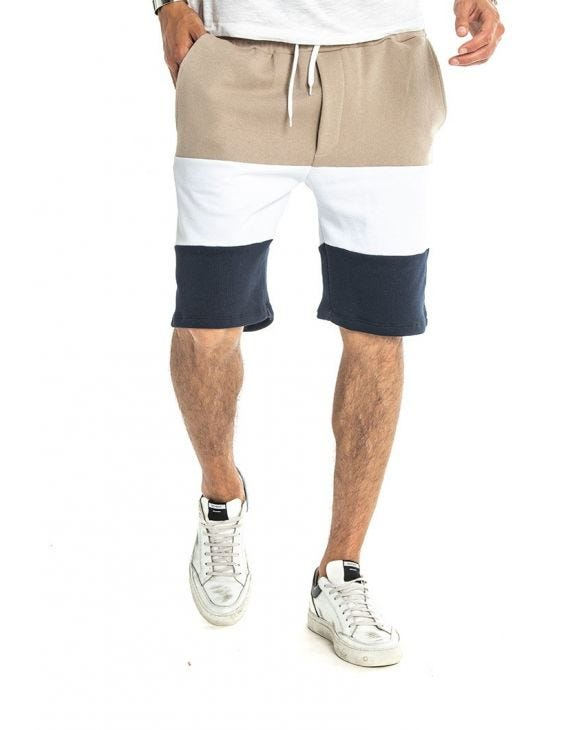 DRAKE STRIPED SHORTS IN BEIGE