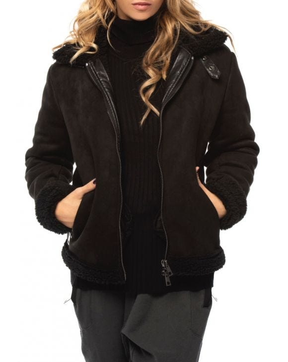 WMN YUKON SHEARLING JACKET IN BLACK