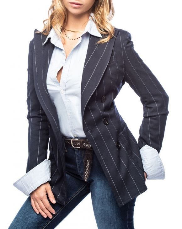 FLEUR DOUBLE BREASTED BLAZER IN STRIPED BLUE