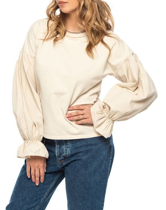 ELLA LONG SLEEVE T-SHIRT IN BEIGE
