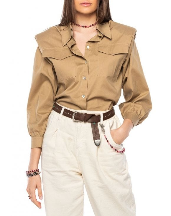 ALAINA CASUAL SHIRT IN CAMEL