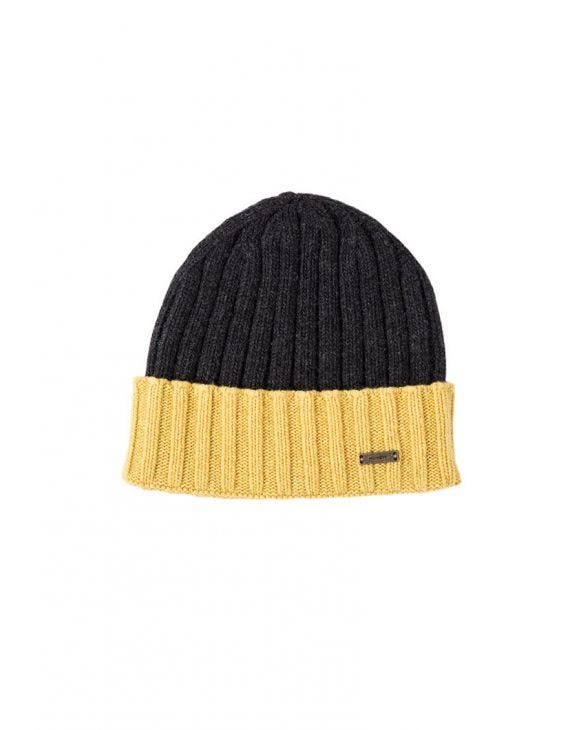 CALLISTO FISHERMAN BEANIE IN GREY AND YELLOW