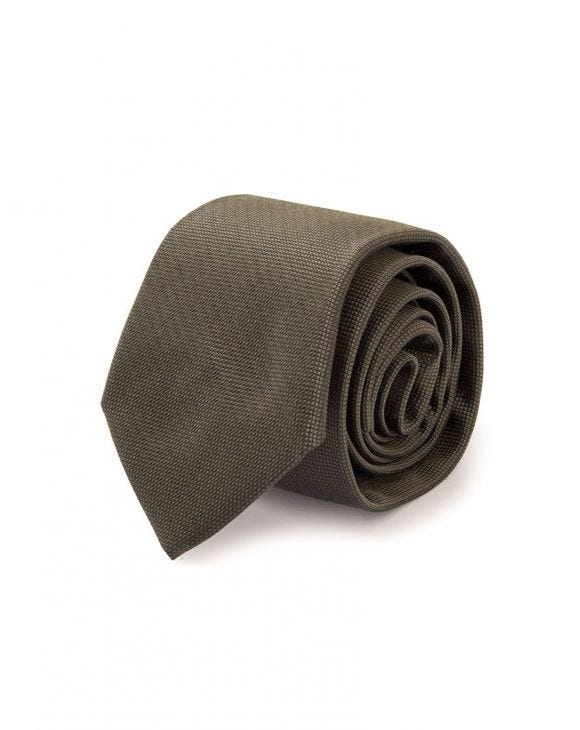 STUART SILK TIE IN OLIVE GREEN