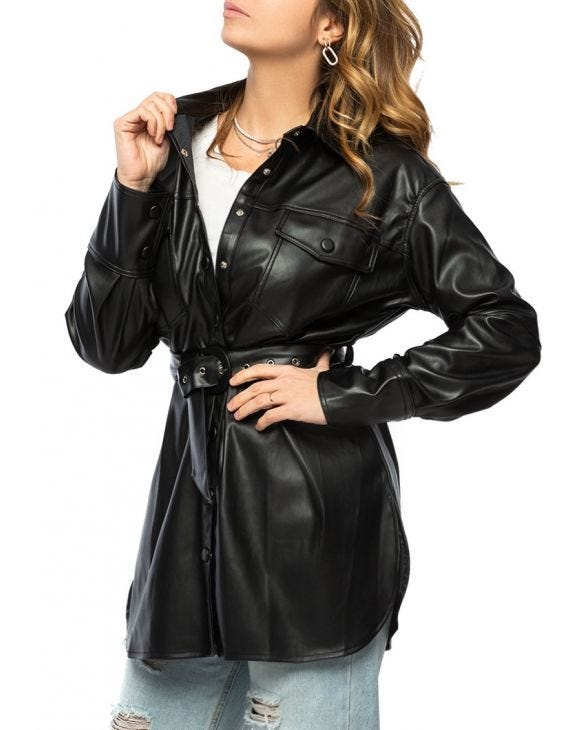 CARLY ECO-LEATHER JACKET IN BLACK