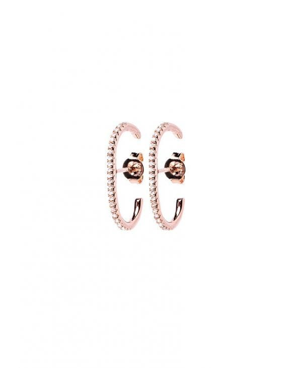 CHARLIZE SMALL C SHAPE EARRINGS IN ROSE GOLD WITH ZIRCONS