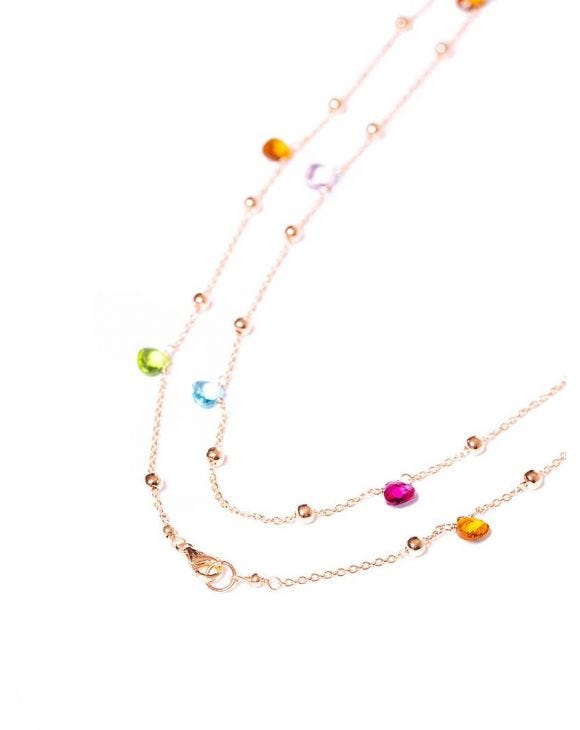 AUDREY CHAIN NECKLACE IN ROSE GOLD WITH MULTICOLOR ZIRCONS