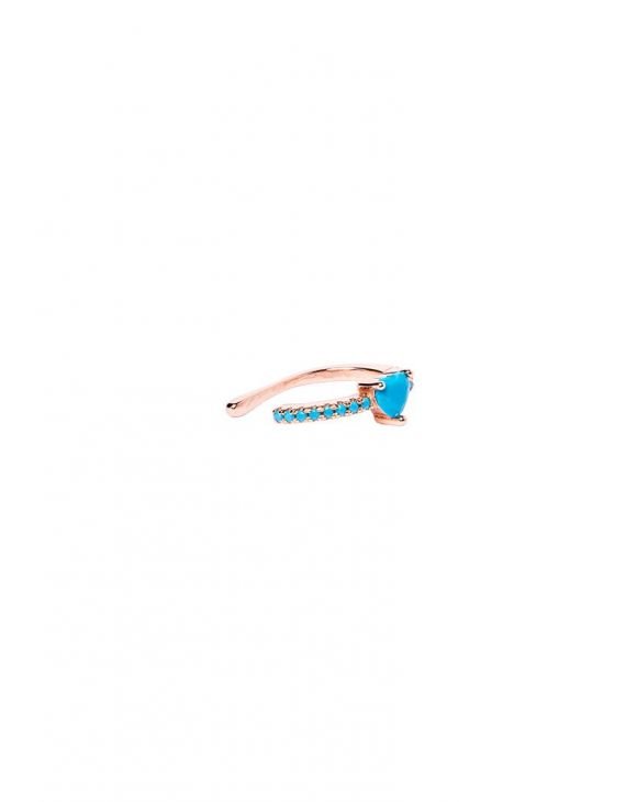 KATE EARCUFF IN ROSE GOLD WITH TURQUOISE HEART-SHAPED GEMS