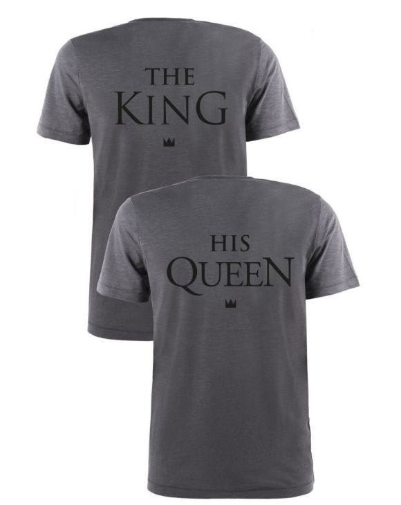 THE KING & HIS QUEEN T-SHIRTS IN GRAU