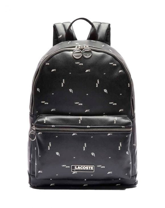 LACOSTE GRAPHIC PACKPACK IN BLACK