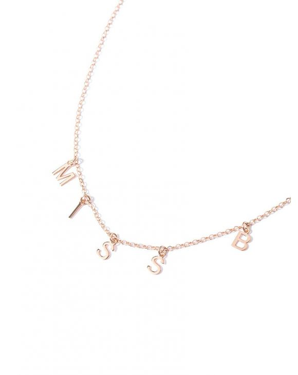 LILITH CUSTOMIZABLE NECKLACE IN ROSE GOLD WITH LETTER PENDANTS