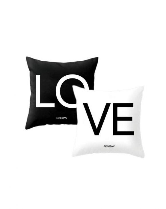 LOVE PILLOWCASES IN BLACK AND WHITE
