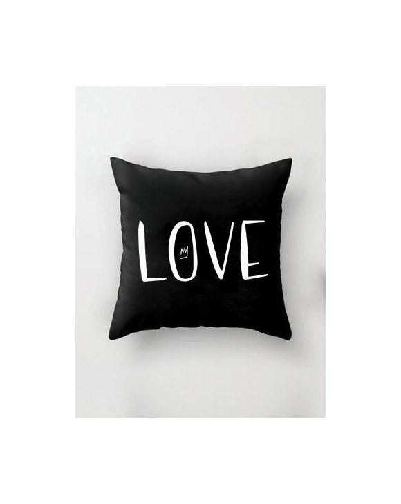 LOVE BLACK PILLOWCASE