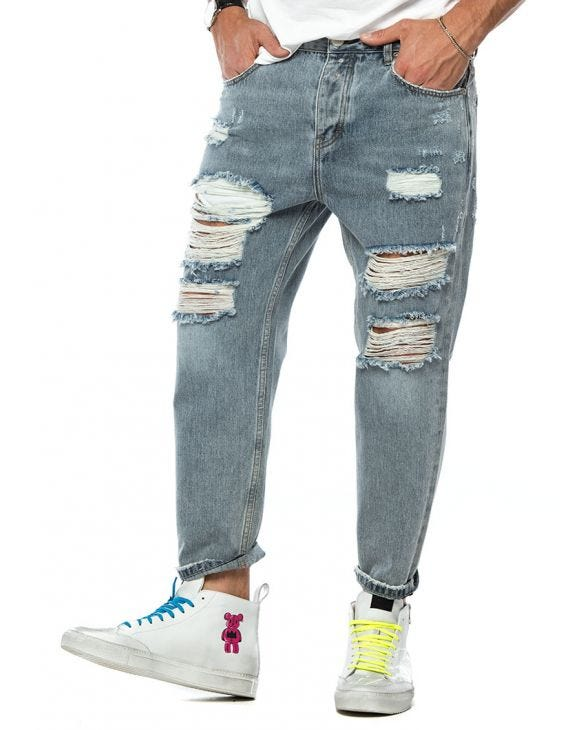 COLLIN DISTRESSED JEANS IN GREY