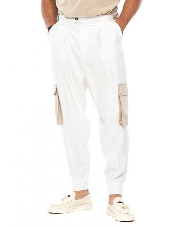 CODY CARGO PANTS IN WHITE AND SAND