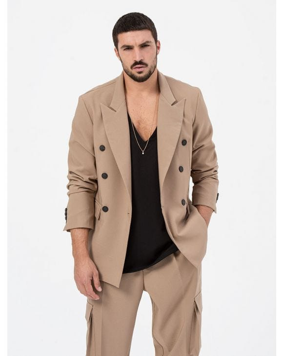 AUGUST DOUBLE BREASTED BLAZER IN CAMEL