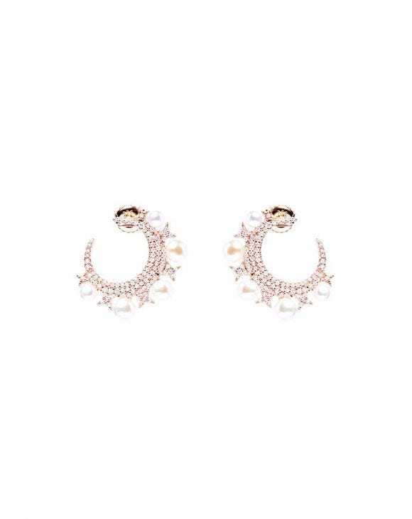 NATALIE EARRINGS IN ROSE GOLD WITH PEARLS AND ZIRCONS