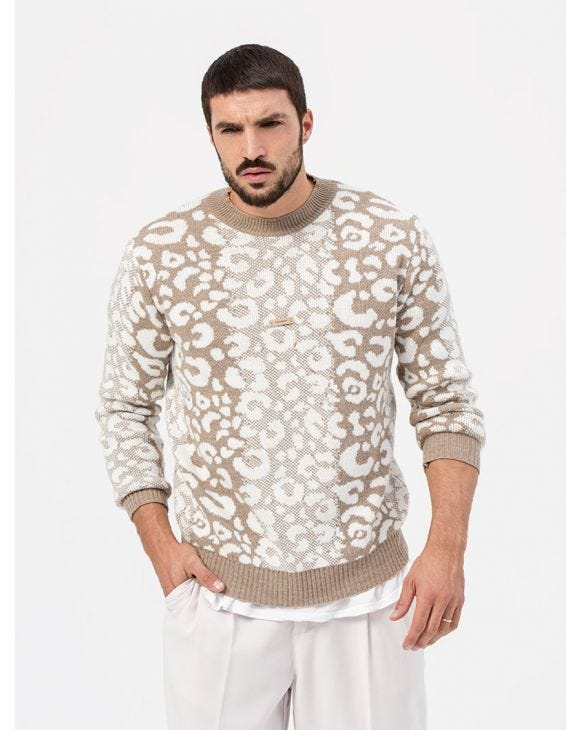 SPOTTED CREWNECK SWEATER IN BEIGE AND WHITE