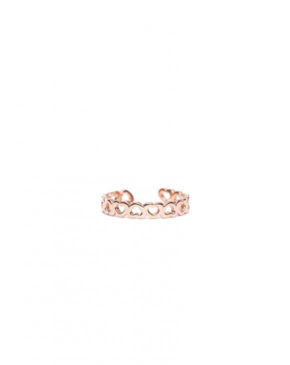KELLY ADJUSTABLE RING WITH MINI HEARTS IN ROSE GOLD