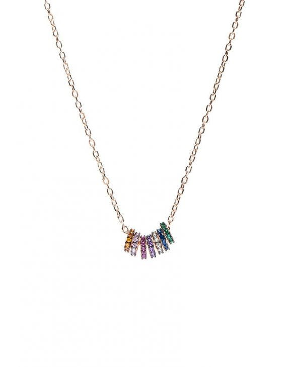 RAINBOW CHAIN NECKLACE IN ROSE GOLD WITH MULTICOLOUR GEARS PENDANTS