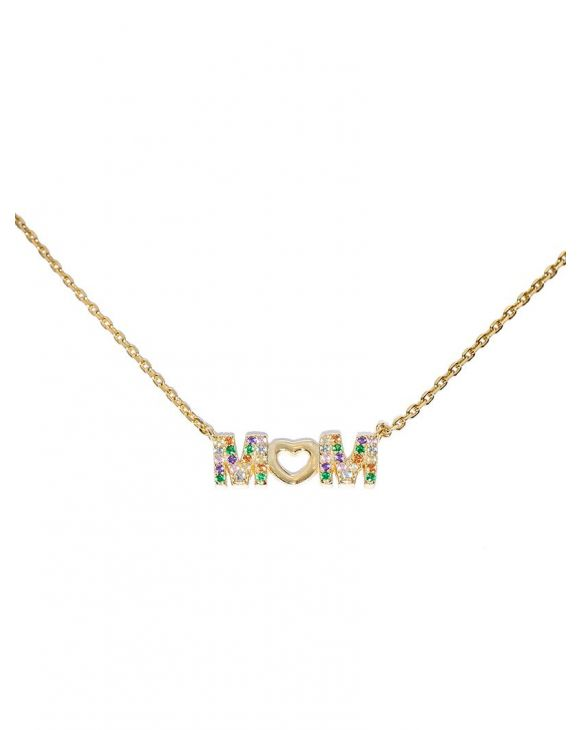 ELY CHAIN NECKLACE IN GOLD WITH MOM PENDANT AND ZIRCONS