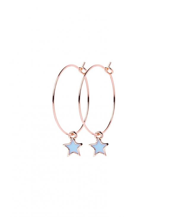 STAR EARRINGS IN GOLD WITH POLISH PENDANT