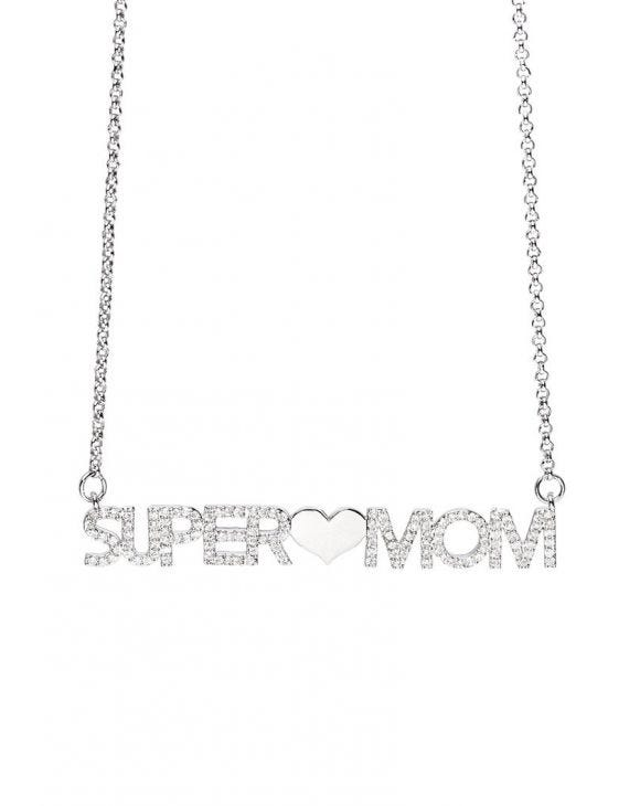 SUPER MOM COLLAR DE CADENA COLOR PLATA