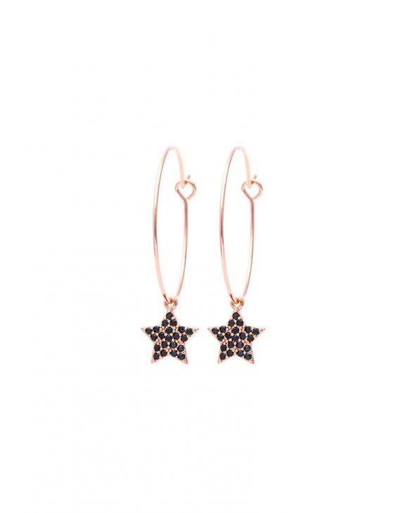 STAR EARRINGS IN ROSE GOLD WITH BLACK ZIRCONS PENDANT