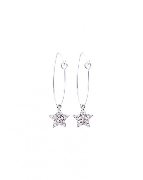 STAR EARRINGS IN SILVER WITH ZIRCONS PENDANT