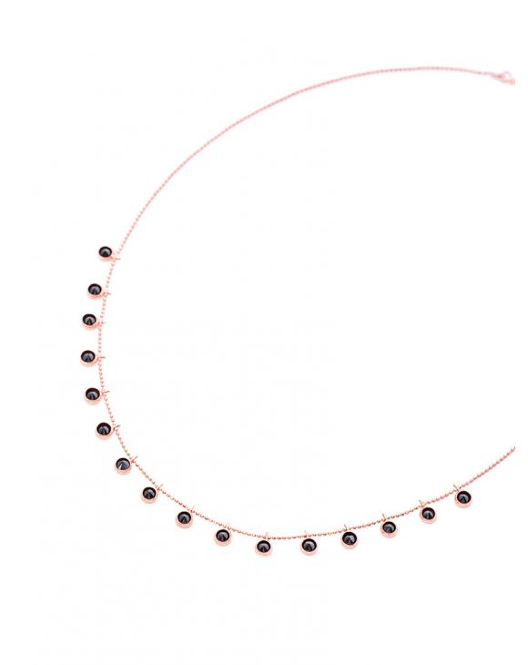 KARA NECKLACE IN ROSE GOLD WITH BLACK PENDANTS