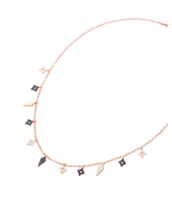 ZARA NECKLACE IN ROSE GOLD WITH PENDANTS
