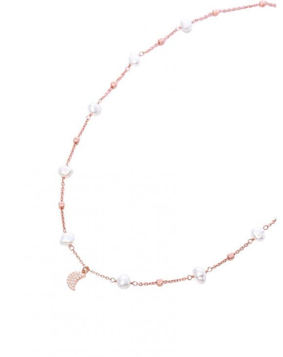 JASMINE NECKLACE IN ROSE GOLD WITH CUBE PEARLS