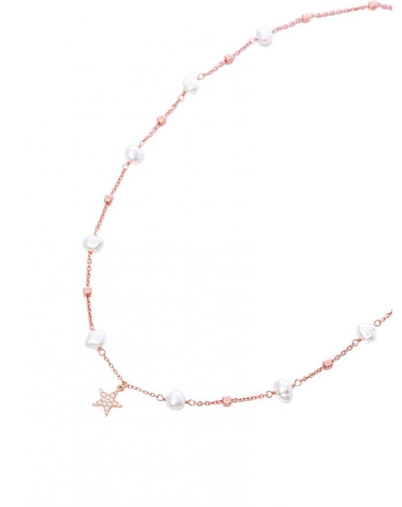 AMELIE NECKLACE IN ROSE GOLD WITH CUBE PEARLS