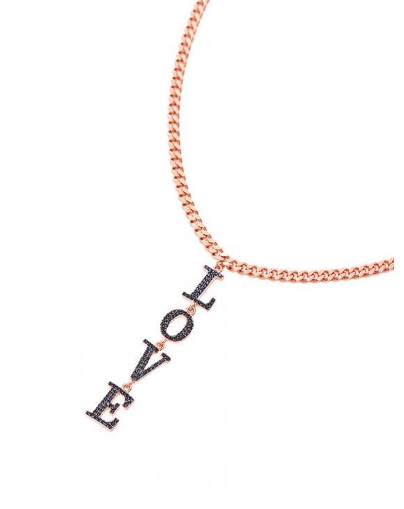 LOVE NECKLACE IN ROSE GOLD WITH BLACK ZIRCONS