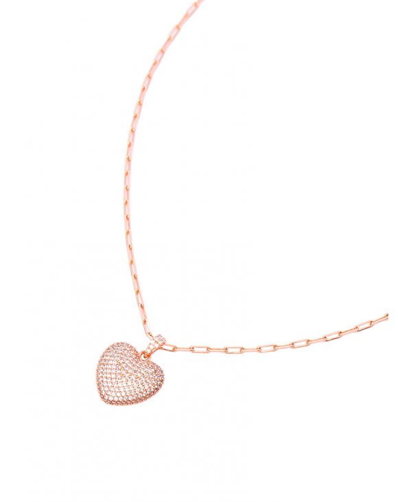 LUCY NECKLACE IN ROSE GOLD WITH HEART PENDANT