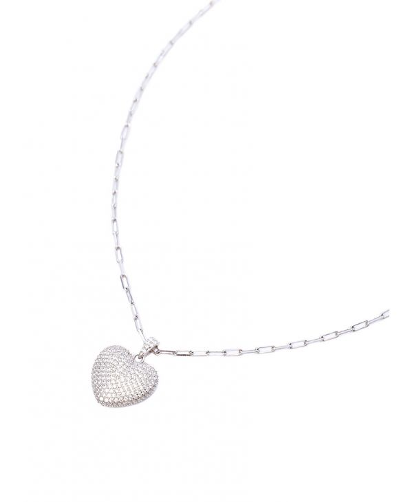 LUCY NECKLACE IN SILVER WITH HEART PENDANT