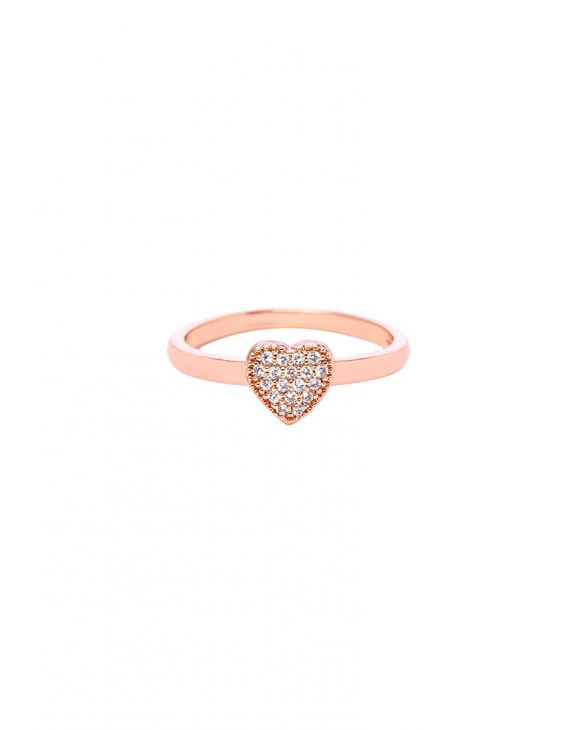 ROXANE HEART RING IN ROSE GOLD WITH ZIRCONS