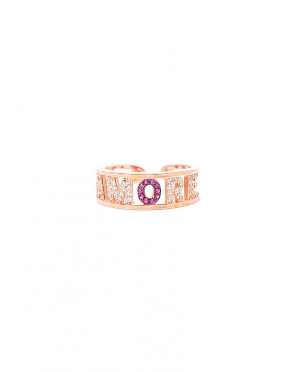 AMORE LETTER RING IN ROSE GOLD WITH ZIRCONS