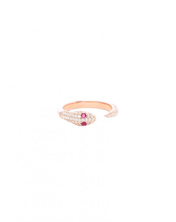 KIRA SNAKE RING IN ROSE GOLD WITH ZIRCONS