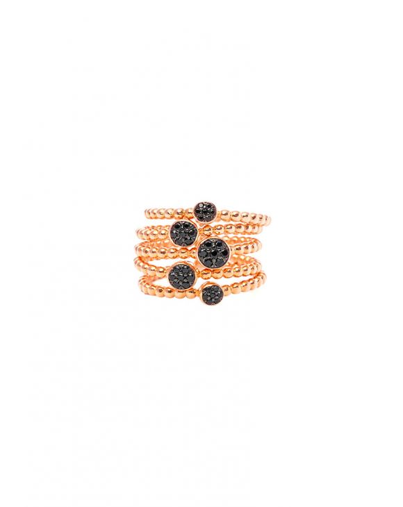 MARA MULTI-RING IN ROSE GOLD WITH BLACK STONES