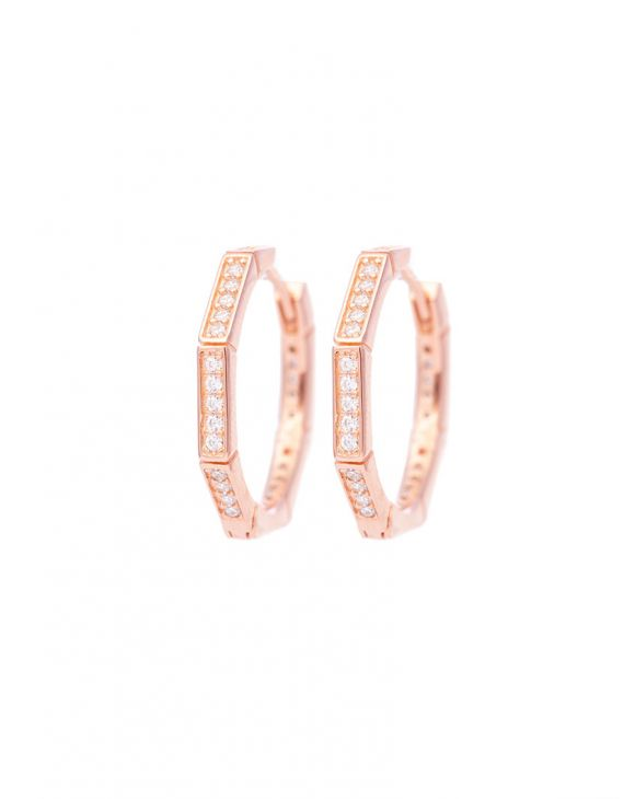 CAMILA OCTAGONAL EARRINGS IN ROSE GOLD WITH ZIRCONS