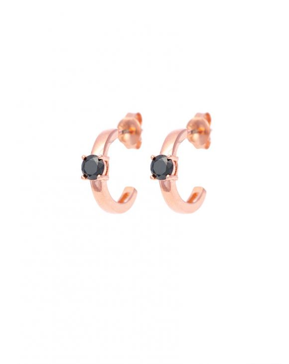 SCARLETT EARRINGS IN ROSE GOLD WITH BLACK SPARKLE