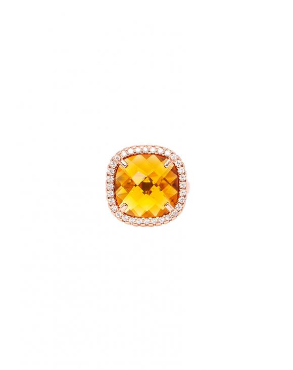 AMBER SQUARE RING IN ROSE GOLD WITH ZIRCONS