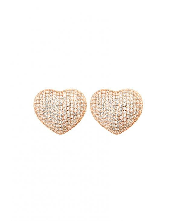 DANA HEART EARRINGS IN ROSE GOLD WITH ZIRCONS
