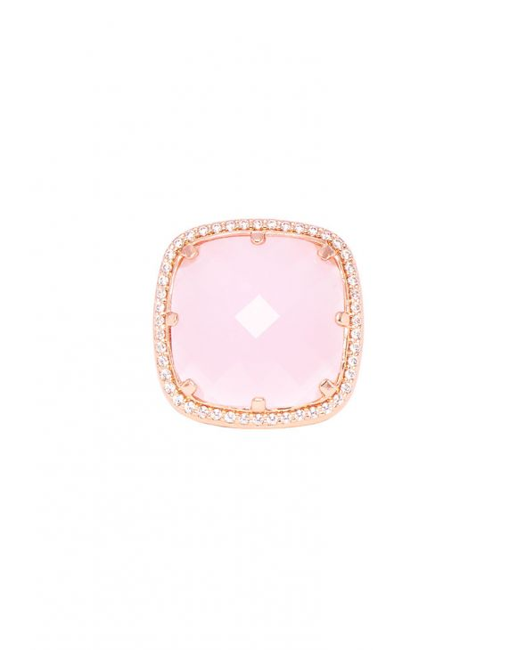 EDEN SQUARE RING IN ROSE GOLD WITH ZIRCONS