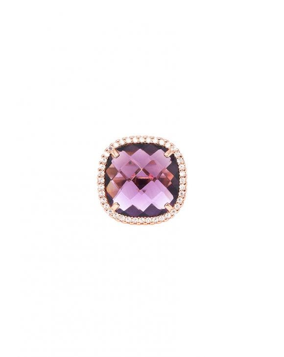 ARYA SQUARE RING IN ROSE GOLD WITH ZIRCONS