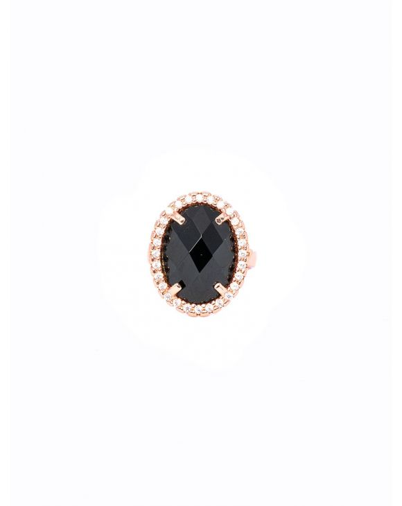 ONYX OVAL RING IN ROSE GOLD WITH ZIRCONS