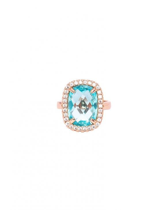 SKY SQUARE RING IN ROSE GOLD WITH ZIRCONS