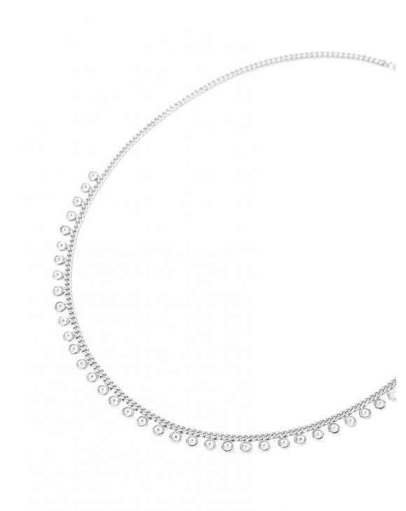 KARA NECKLACE IN SILVER WITH ZIRCON PENDANTS