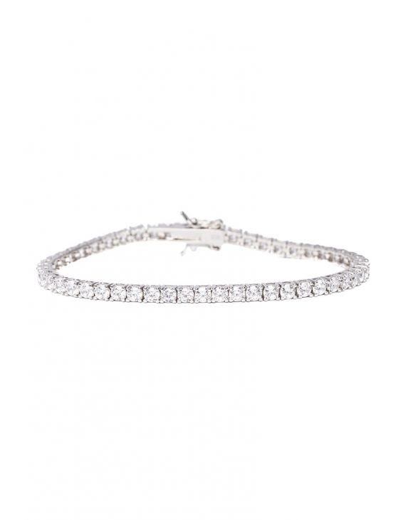 TENNIS SILBERNES ARMBAND IN WEISS